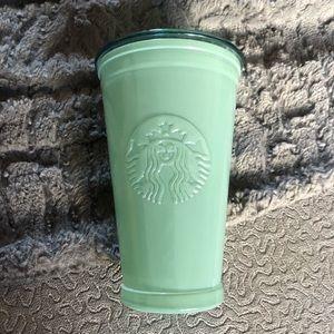 Starbucks Embossed Green Glass 16oz Tumbler & Lid